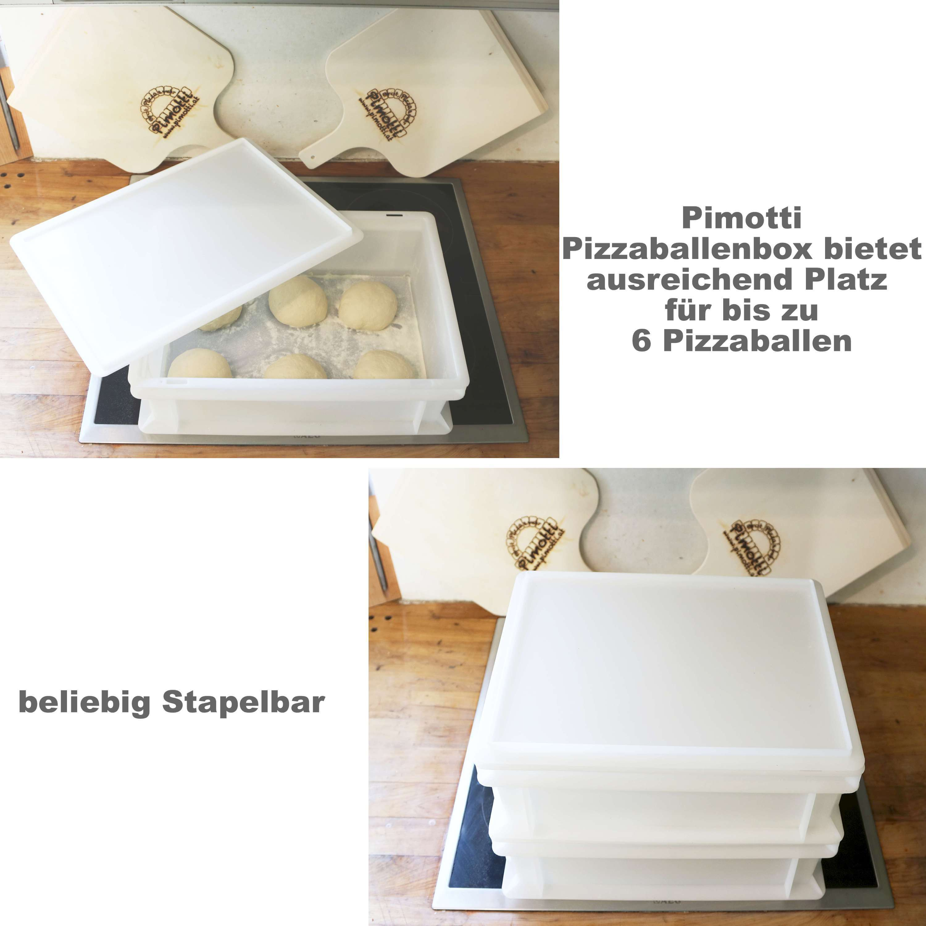 pizzaballenbox 2er set ohne deckel kunststoffbeh lter f r pizzateig pimotti pizzastein die. Black Bedroom Furniture Sets. Home Design Ideas